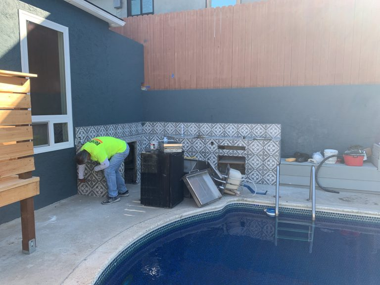 exterior paint near pool